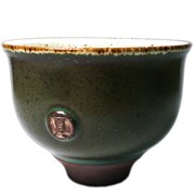 "Пиала ""Тайваньский цветок"", тёмно-зелёная, глина, 100 мл"