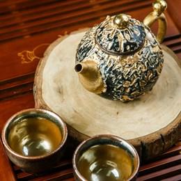 """чайный набор """"золотой"""" (чайник, 2 пиалы), Тайвань"""