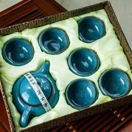 набор # 1 (чайник, 6 пиал), голубой - фото 5107