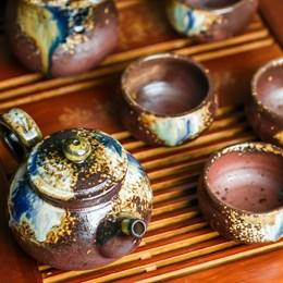 набор #7, глина, ручная работа, Тайвань (чахай 225 мл, чайник 175 мл, 4 пиалы 75 мл) - фото 5114