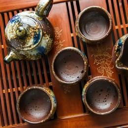 набор #7, глина, ручная работа, Тайвань (чахай 225 мл, чайник 175 мл, 4 пиалы 75 мл) - фото 5115