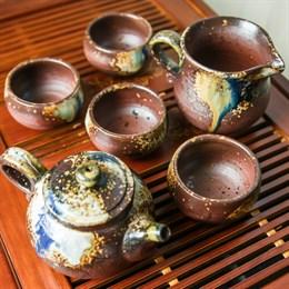 набор #7, глина, ручная работа, Тайвань (чахай 225 мл, чайник 175 мл, 4 пиалы 75 мл) - фото 5116
