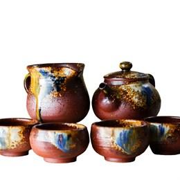 набор #7, глина, ручная работа, Тайвань (чахай 225 мл, чайник 175 мл, 4 пиалы 75 мл) - фото 5608