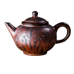 мастеровой чайник ручной работы, красная глина с глазурью, 180 мл, Тайвань - фото 5666