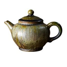 мастеровой чайник ручной работы, жёлтая глина с зелёной глазурью, 180 мл, Тайвань - фото 5668