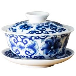 """Гайвань """"Синий цветок"""", фарфор, 100 мл - фото 5729"""