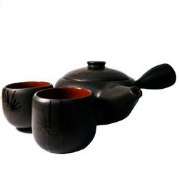 """Набор японский чайник и 2 пиалы """"Ночь"""" ручной работы, глина - фото 5943"""
