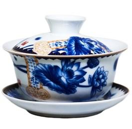 """Гайвань """"Синий лотос"""", фарфор, 100 мл - фото 5961"""