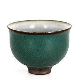 """Пиала """"тайваньский цветок"""", тёмно-зелёная, фарфор, 50мл - фото 7083"""