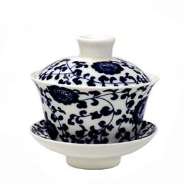 """Гайвань """"Синий цветок"""", фарфор, 220мл - фото 7191"""