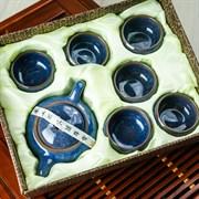 набор # 3 (чайник, 6 пиал), синий